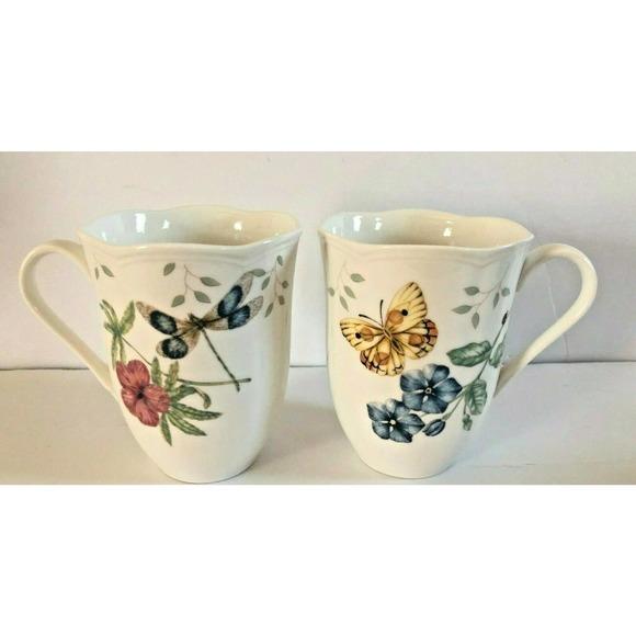 Lenox Butterfly Meadow Scalloped Mugs Set of 2